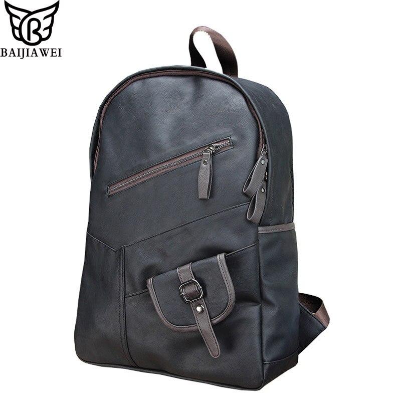 BAIJIAWEI Hot Sale PU Leather Backpack For Men Fashion College Style Backpacks Leather Laptop Bag & Travel Bag Mochila Zip hot sales men s travel genuine leather durable black backpack fashion backpack laptop bag outdoor travel men s backpacks t6296