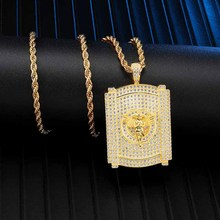 Full Iced Out Bling Angel Cubic Zirconia CZ Necklace Rhinestone Rope Chain Pendants & Necklaces For Men Hip Jewelry