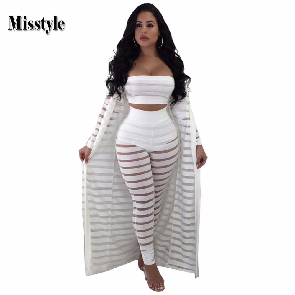 262c908b106 Misstyle Sexy Sheer Mesh Bodysuits Women 3 Piece Set Long Sleeve Hollow Out  Bodycon Jumpsuit Strapless