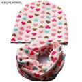 HENGZHEAPPAREL 2017 novo do bebê do algodão conjunto chapéu cachecol coração bonito impresso tampas cachecol conjunto chapéu + lenço set crianças criança para 0-5 anos