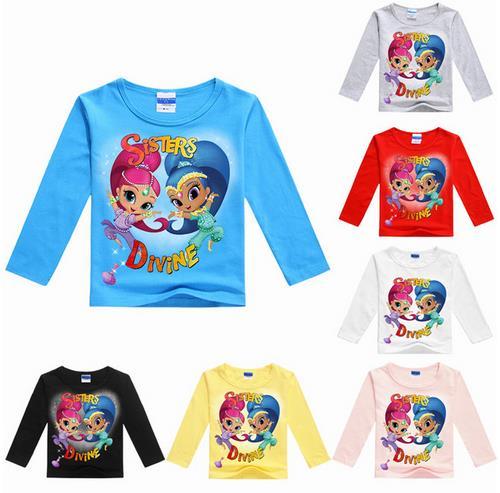 Children shirts top Girls clothes cartoon printed tee baby boy Magic ruffle raglan summer t-shirt  TOP quality!