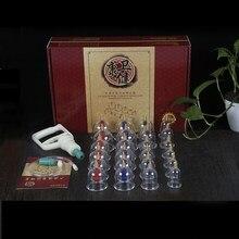 24 bardak vakum çukurluğu seti hijama manyetik emici çukurluğu kutuları akupunktur masaj vantuz çin tıbbi masaj seti