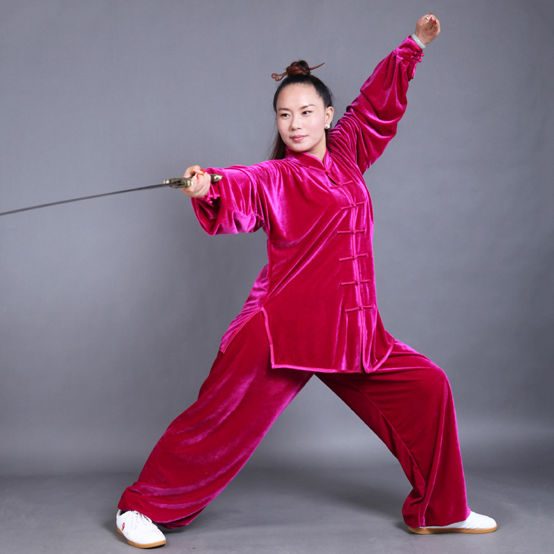 Women Men Thick Warm Kungfu Suit Top Shirt Pants Martial Art Clothing Tai Chi Practice Coral Velvet Warm Winter