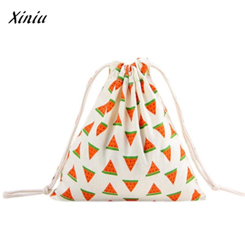 Xiniu Women's Bags Bag For Drawstring Bag Unisex Cartoon Printing Linen Drawstring Bag Travel Backpack Packet Size Small