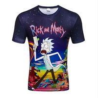 2017 Summer New Anime Cool Rick Morty 3D Print Men T Shirt Peace Among Worlds Folk