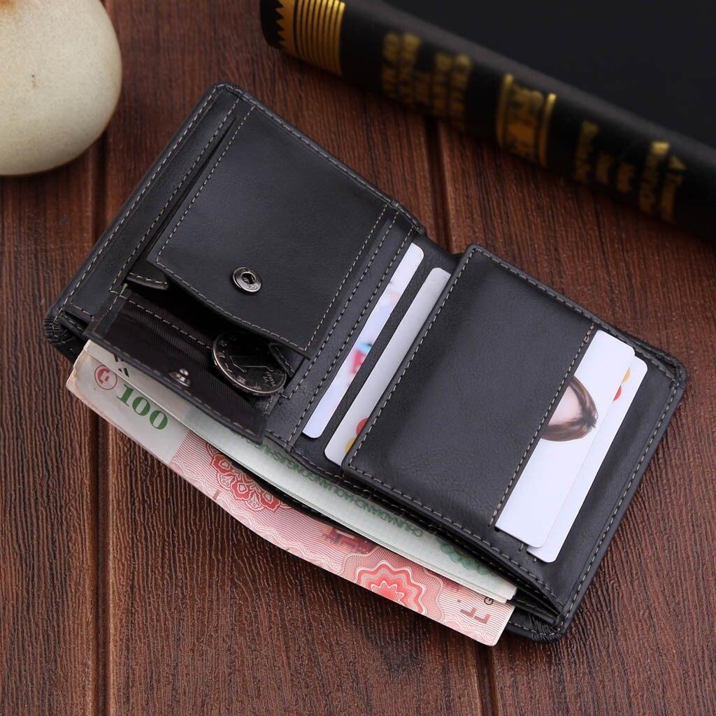 Carteira masculina compacta de couro, carteira masculina feita em couro com dobra central e compartimento para dinheiro, com compartimento triplo rfid #5 $