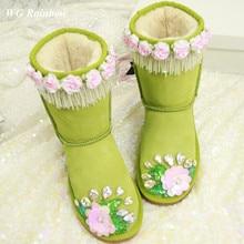 2015 Autumn Winter Nubuck Genuine Leather Women's Boots Shoes Handmade Bling Rhinestones Diamond Flower Women's Warm Snow Boots