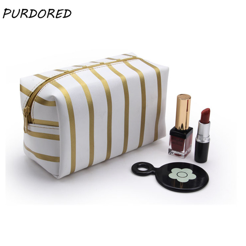 PURDORED 1 Pc Solid Stripe Cosmetic Bag  PU Leather Women Makeup Bag Travel Make Up Organizer Toiletry Bag Student Pencil Bag