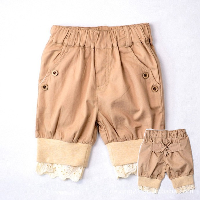summer new Girl kids shorts Fashion england style leisure pants brand lace design shorts khaiki kid Short Pants children clothes