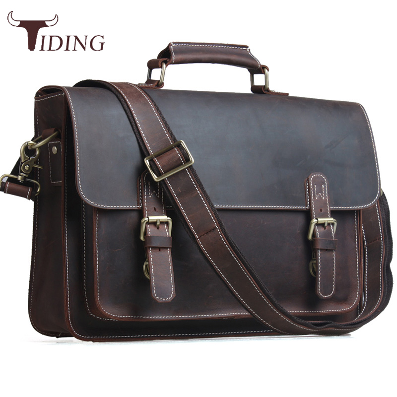Genuine Vintage Leather Messenger Bag Shoulder Laptop Bag Briefcase Men/'s Brown
