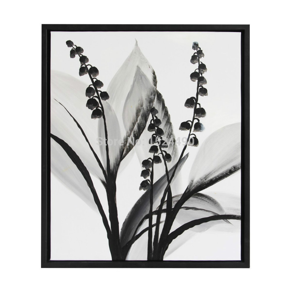 100 hand painted modern black white flower oil painting on canvas