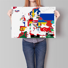 europe world map flag library country map poster modern coated poster paper painting cafe restaurant wall