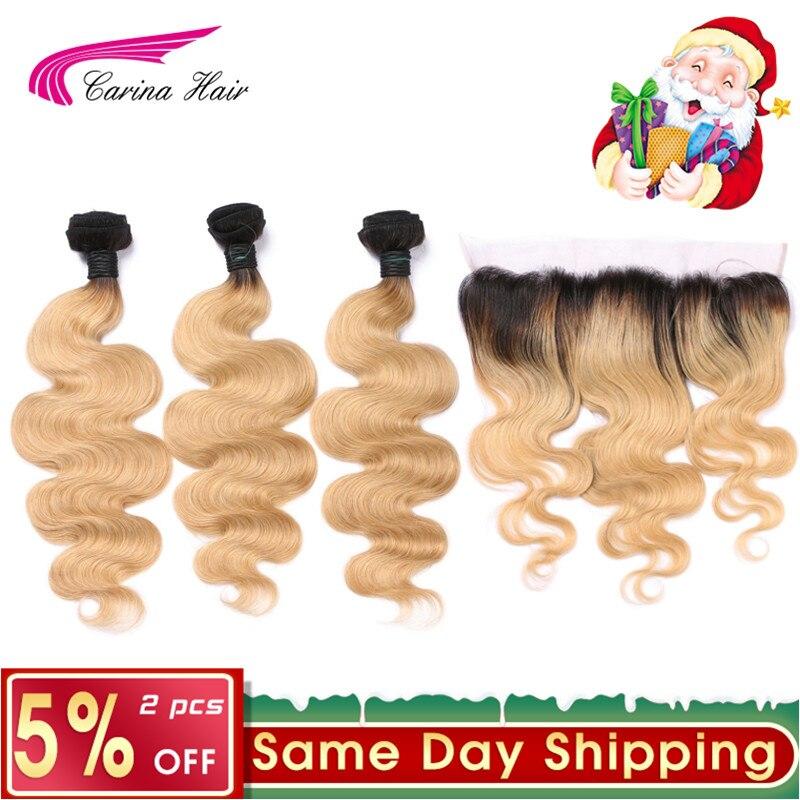 Carina Miel Ombre 1b27 Cheveux Couleur Brésilienne Blonde Couleur de Cheveux Trames 3 Faisceau avec 13x4 Oreille à L'oreille dentelle Frontale Remy de Cheveux Humains