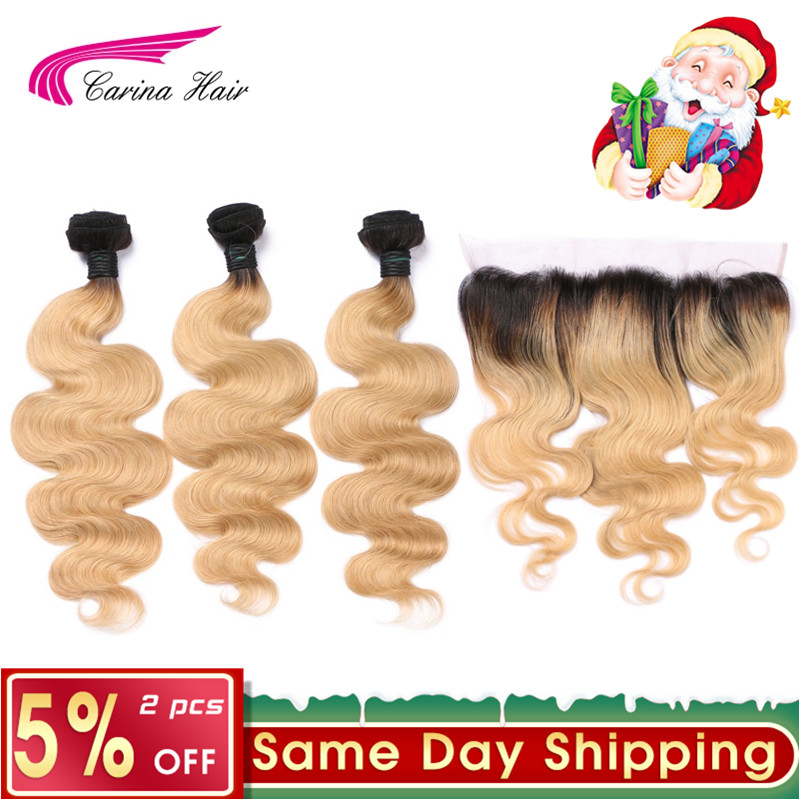 Hair Extensions & Wigs Industrious Ombre Honey Blonde Hair Wave Bundles With Frontal Closure Brazilian Carina Remy Body Wave Human Hair Extension Blonde Human Hair Weaves