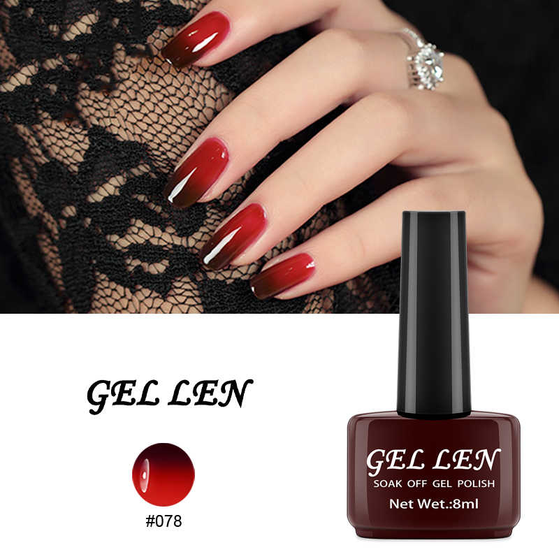 GEL LEN Thermal Mood Gel Varnish Nail Art Professional Gel Temperature Change Color LED UV Nail Gel Polish