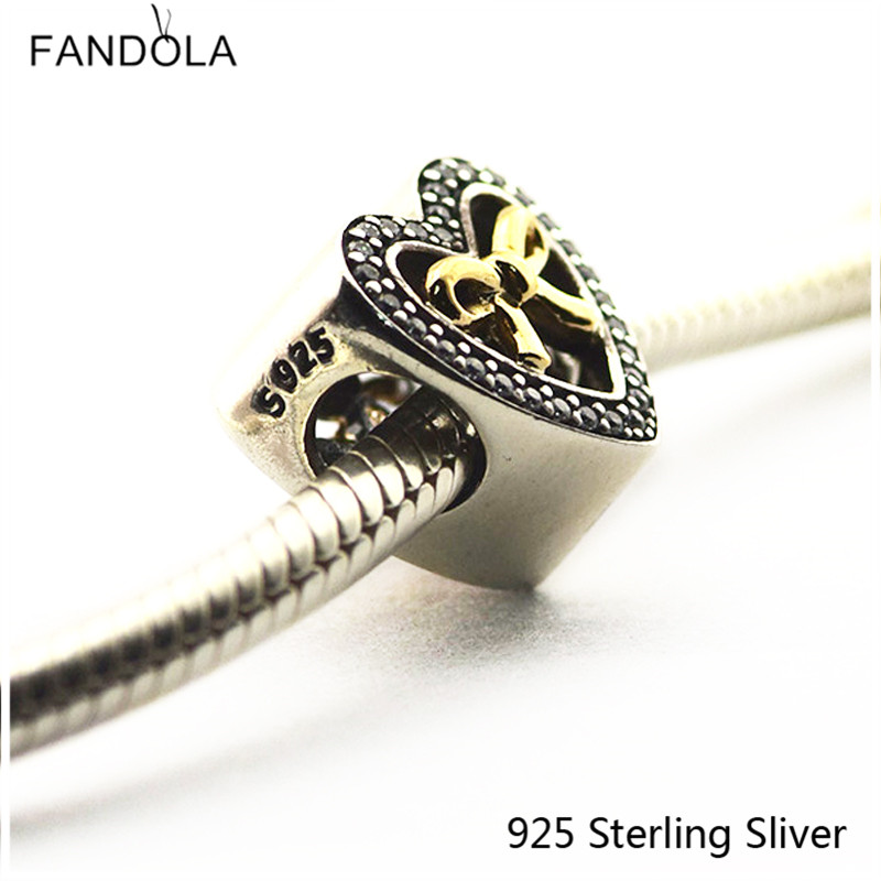 Beads Fits Pandora Bracelets 100% 925 Sterling Silver Jewelry Bound By Love 14K Gold Original Charms CKK