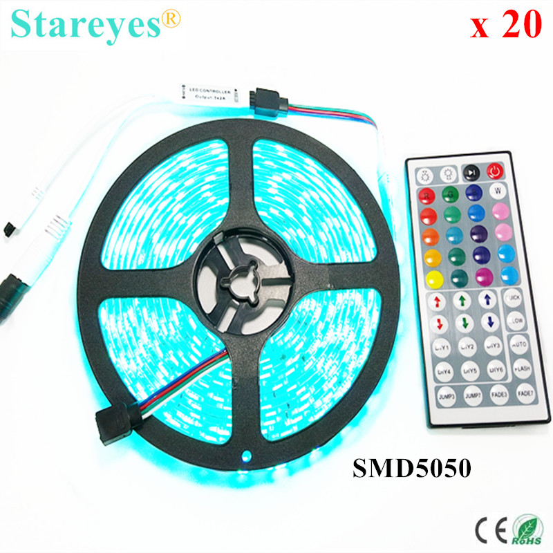 Free Shipping 20 sets SMD 5050 60 LED/M RGB Strip 5M 300 LED DC12V LED Tape light string lighting LED Strip 44 Key IR Remote
