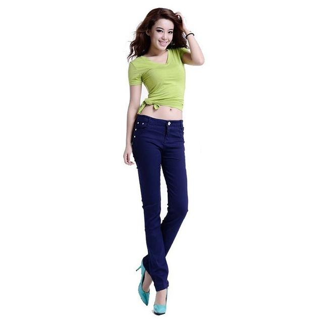 New Korean Women Pencil Pants Candy Color Skinny Jeans Women Hips Fitness Trousers Female Jeans Plus size