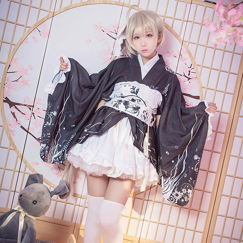 Japanese Anime In Solitude Where We Are Least Alone Yosuga no Sora Kasugano Sora Cosplay Costume Kimono Lolita Cosplay Bathrobe anime yosuga no sora sora kasugano 1 8 sexy pvc action figure collectible model toy 19cm sgfg233