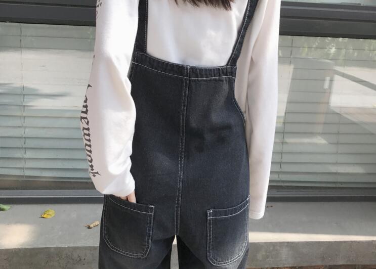 Autumn Korean Style Ulzzang Harajuku Denim Romper Korean BF Style Denim Romper For Female Loose High Waist Ankle Length Romper 8