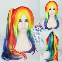 65cm My Little Pony Rainbow Straight Cosplay Wig Synthetic Multi color Women Fake Hair Wigs With Long Ponytail For Christmas long side bang straight my little pony lily cosplay wig