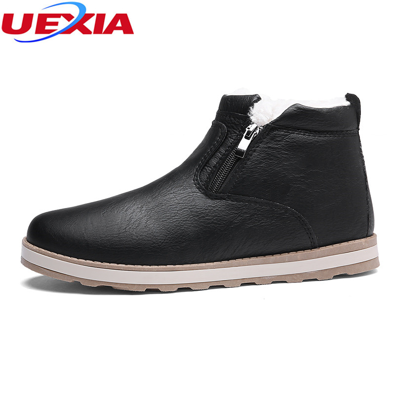 UEXIA Winter Fashion Men Ankle Boots High Top PU Leather Zipper Warm Snow Boots Fur Cotton Martin Ankle Boots Black Brown Casual tier flounce plus size two piece corset dress