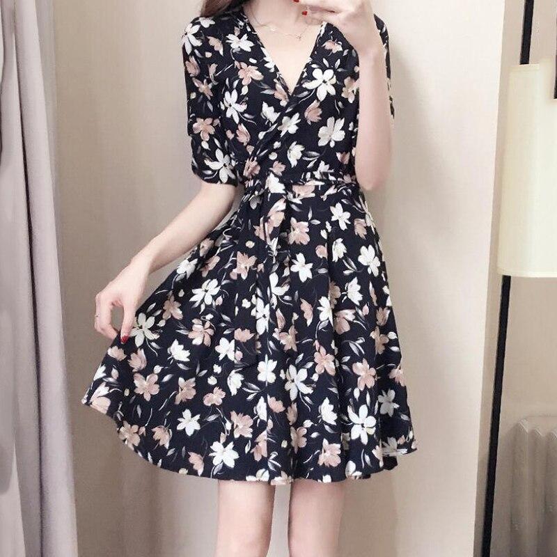 Plus Size Women Clothing 2018 Summer Dress Elegant Short Sleeve V neck Floral Short Boho Dress for vestidos