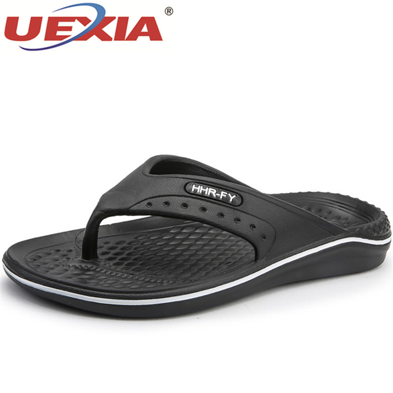 UEXIA Beach Flip Flops Casual Slip-on Flats Sandals Men Shoes zapatos 2018 New Summer Slippers Men Hollow Massage Breathable