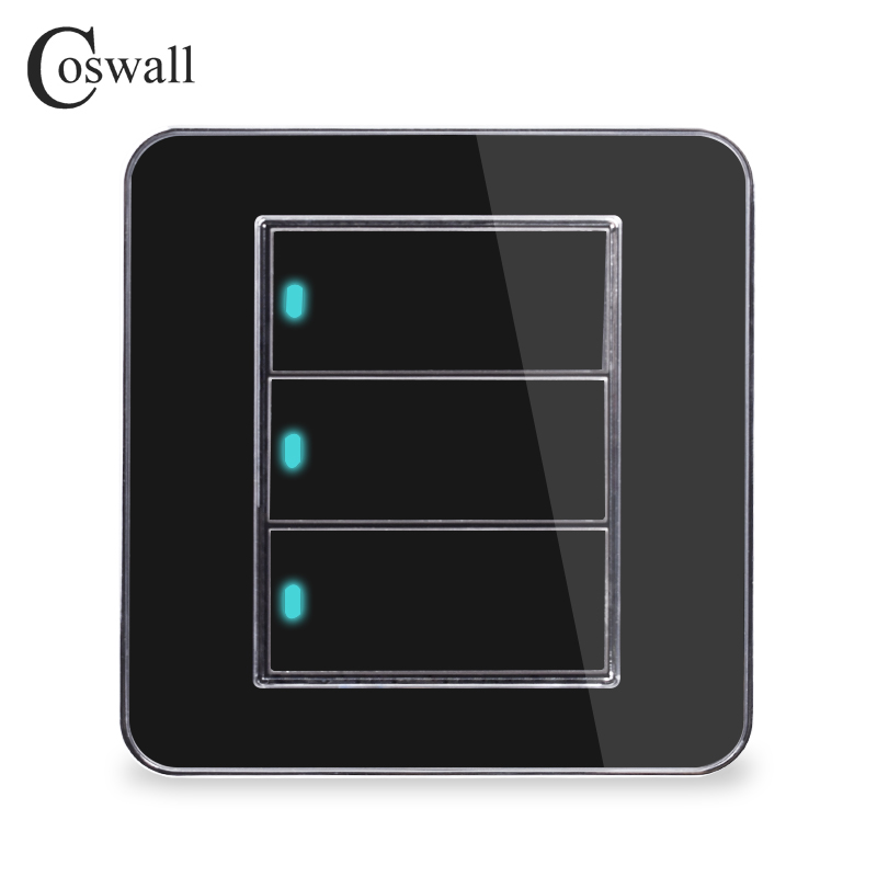 Coswall Brand New Arrival 3 Gang 1 Way Random Click On / Off Wall Light Switch With LED Indicator Acrylic Crystal PanelCoswall Brand New Arrival 3 Gang 1 Way Random Click On / Off Wall Light Switch With LED Indicator Acrylic Crystal Panel