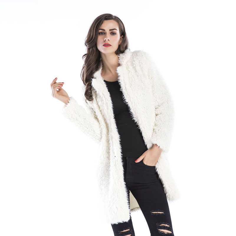Fashion Furry Coat Women Fluffy Warm Lapel Jacket Long