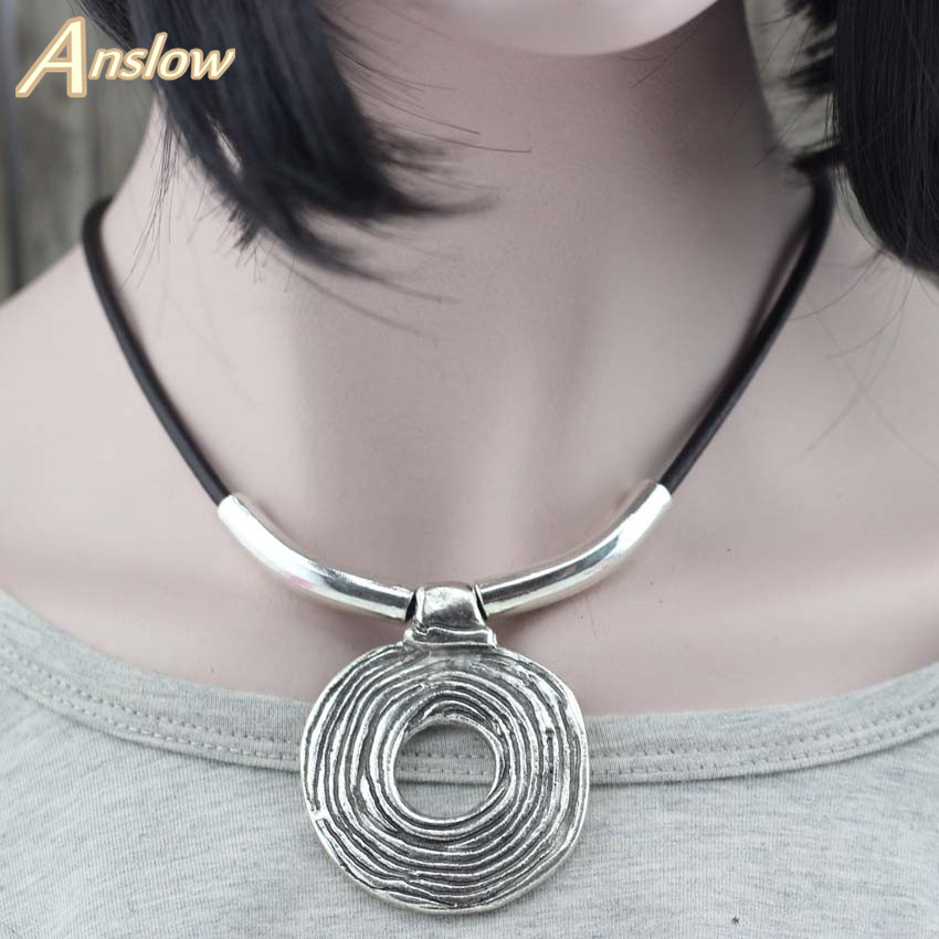 Anslow Hot Sale Design Punk Rock Hyperbole Handmade Wrap Rope Leather Necklace Women Cho ...