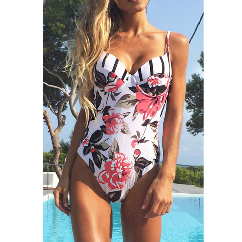 Sexy Print Swimwear 2018 New One Piece Swimsuit Push Up Bathing Suits Beach Wear Bodysuit Swimming Suit For Women Monokini S-XL printed swimwear one piece swimsuit plus size bathing suits push up monokini sexy women beach costume strappy swimming suit