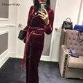 WHITNEY WANG Streetwear de La Moda Otoño Invierno Pijama Estilo Abrigo de Terciopelo pantalones Anchos de La Pierna Pantalones de Traje de Dos Piezas Set de Ropa de Alta Calidad