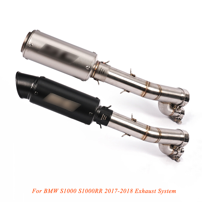 2017 2018 Silp on for BMW S1000 S1000RR Motocycle Exhaust System Modified Middle Pipe With Tail