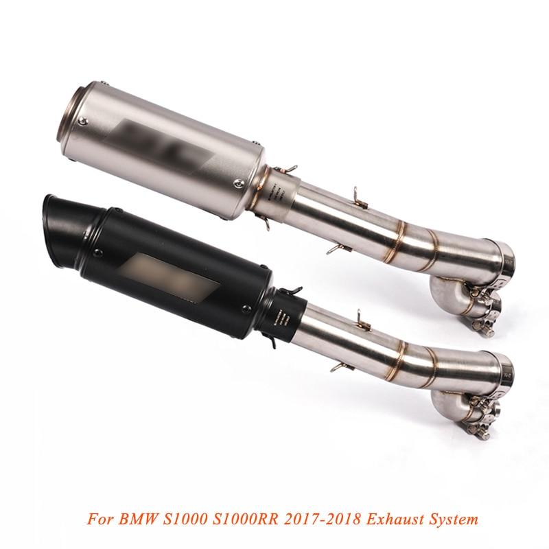 2017 2018 Silp on pour BMW S1000 S1000RR système d'échappement de moto modifié tuyau moyen avec tuyau d'échappement de queue