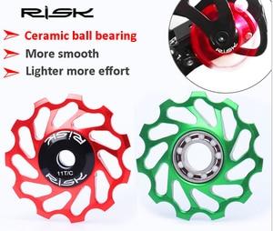 1Pcs MTB Road Bike Ceramic Pulley 41mm Rear Derailleur pulley 11T Guide Cycling Ceramics Bearing Jockey Wheel for MTB road bike(China)