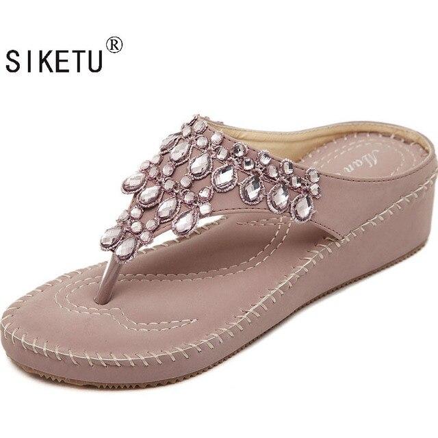 1b4f6367e407f SIKETU 2017 New Korean Rhinestone Sandals Women Bohemian Beaded Sponge Cake  Heel Flip Flops Large Size Shoes Woman 35-40