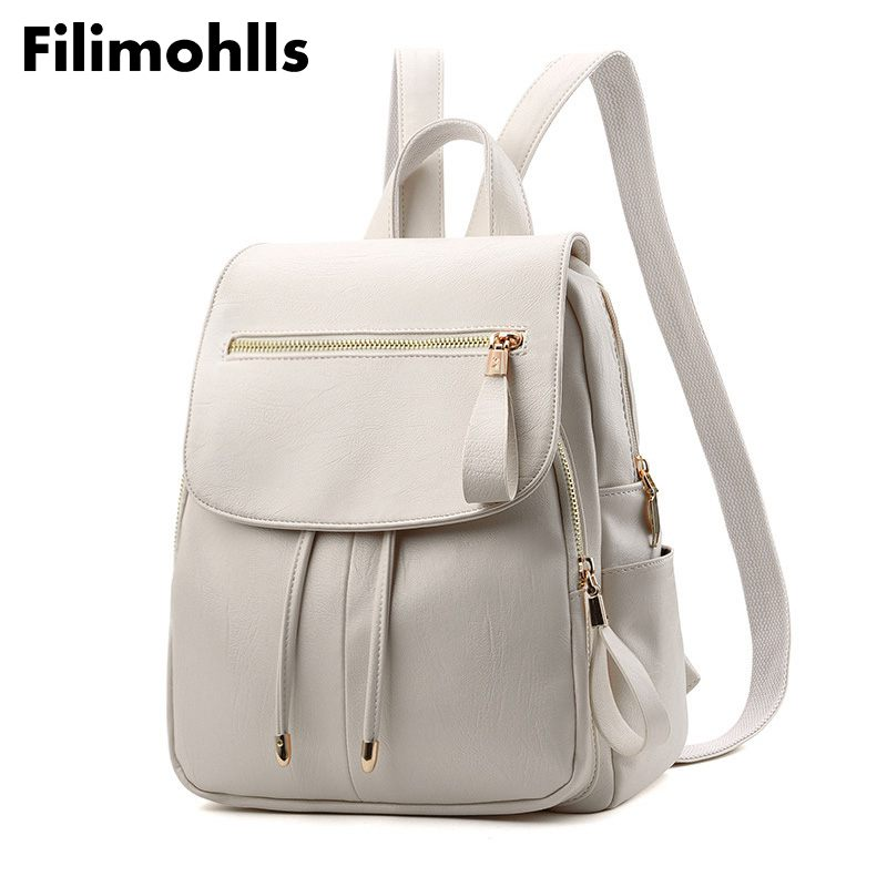 Backpack In Women's Casual PU Leather Knapsack Travel Mochila Escolar Masculina Backpack Zainetto Donna Lady Solid New F-500
