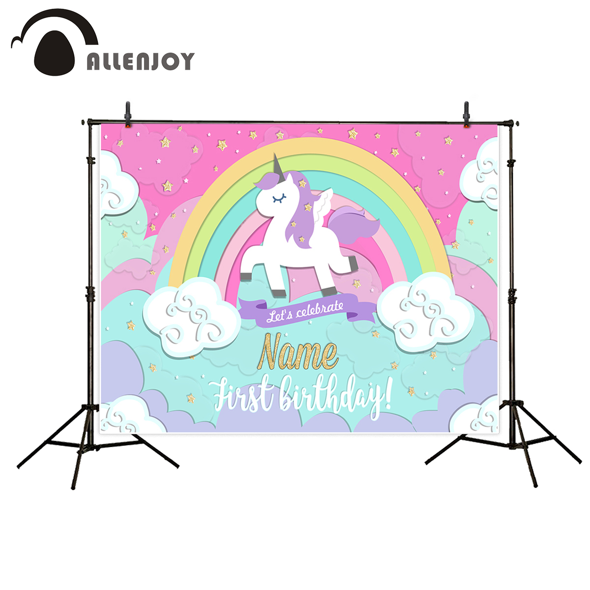 Allenjoy photography backdrops unicorn Rainbow stars cloud birthday photo booth for baby background Background for photo girls birthday backdrops baby shower background black white stripe cosmetic invitation celebration table banner party allenjoy