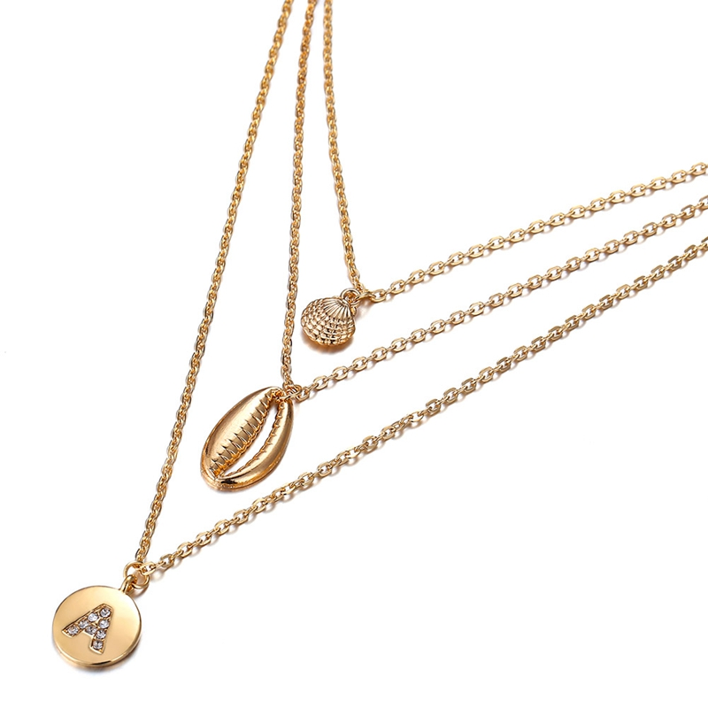 Fashion Jewelry Women Shell Crystal Letter A Multi-layer Ladies Chokers Pendant Chain Necklace