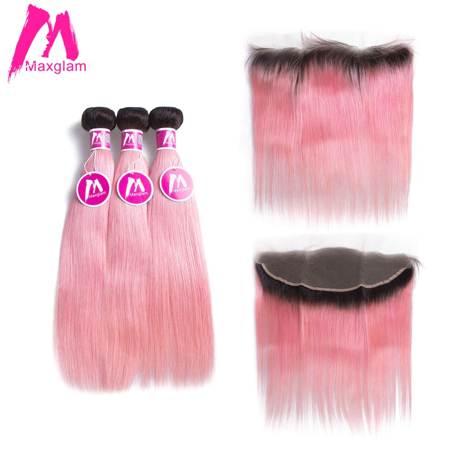 Maxglam Straight Hair Bundles With Frontal Ombre 1b Pink Brazilian Remy Human Hair Weave Bundles with