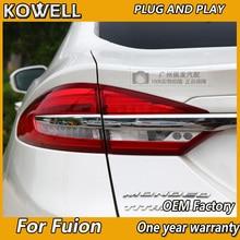 Kowell lâmpada traseira de led, lâmpada traseira de led para ford mondeo fusion luzes traseiras 2017 2018 2019 drl + freio + parque + sinal