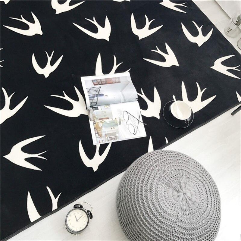 Mode noir blanc feuille flèche salon chambre décoratif tapis zone tapis salle de bain cuisine pied porte Yoga bébé tapis de jeu - 6