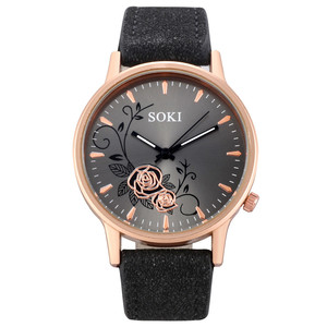 Vente Chaude Women Watches Frosted Leather Strap Flower Exquisite Ladies Clock Age Girl Watch Gmt Relojes Mujer Bayan Saat *A(China)