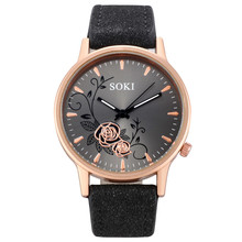 Vente Chaude Women Watches Frosted Leather Strap Flower Exqu