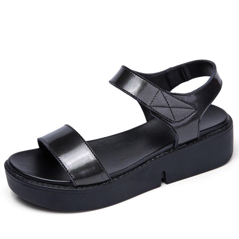 Frauen Schuhe KöStlich 4195 P Neue Frauen Sandalen Dicken Sohlen Sandalen Frauen Leder Erhöht Damen