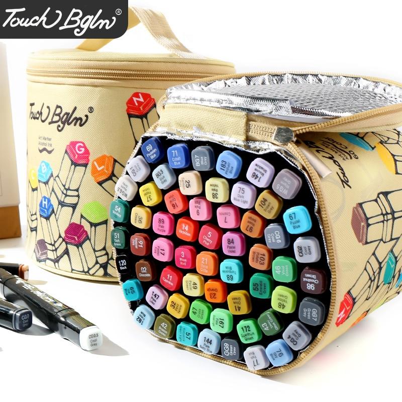 HuiQin 30/40/60/80/168 couleurs à base d'alcool stylo marqueurs double tête croquis marqueurs pinceau stylo pour dessiner Manga Design Art fournitures