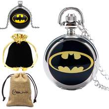 Silver Girl Kids Woman Child Super Hero Batman Logo Pocket Watch Hour Wholesale Price Good Quality Small Pocket Watch(China)