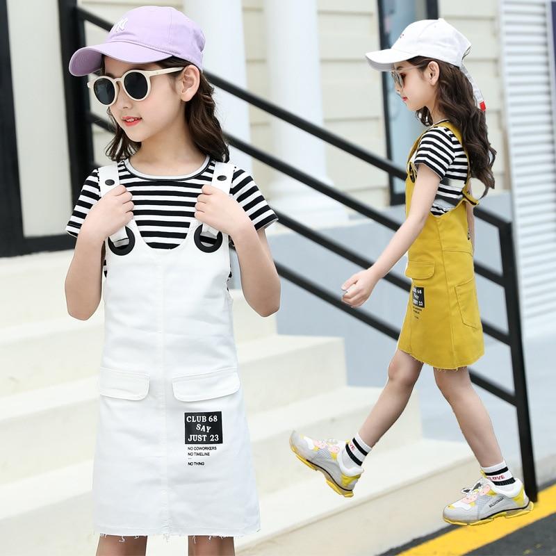 Girls Suspenders Dress 2 Pcs Set 2019 Summer Fashion Kids Stripe T-Shirts And Dresses Set For Girl 5 7 9 11 13 Year Clj144 36