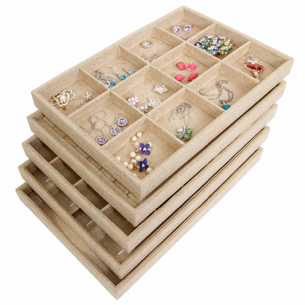 35x24cm Sackcloth Stackable 12 Grid Jewelry Tray Showcase Display